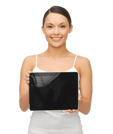 picture of beautiful woman with tablet pc Stock Photo - 17758717