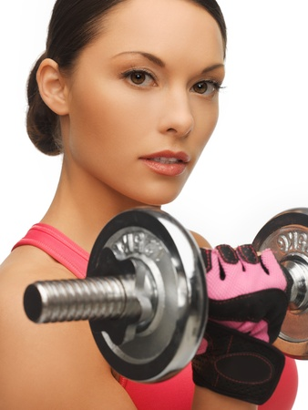 picture of beautiful sporty woman with dumbbell Stock Photo - 17758699