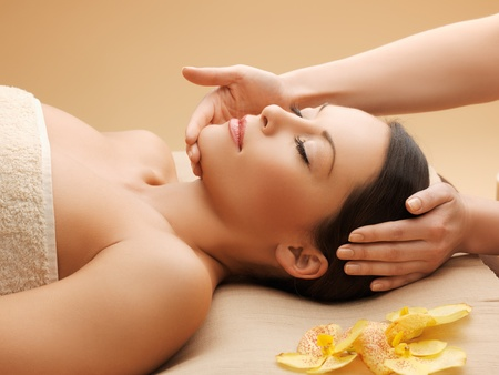 picture of calm beautiful woman in massage salon Stock Photo - 17758701