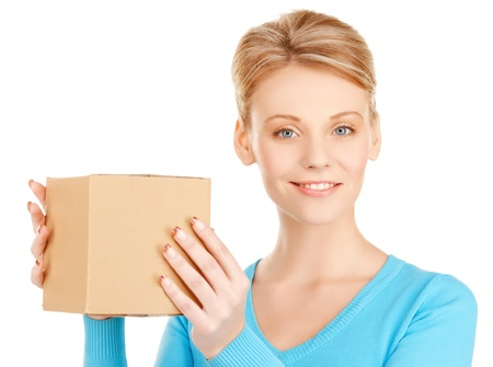 picture of happy woman with cardboard box Stock Photo - 17796661