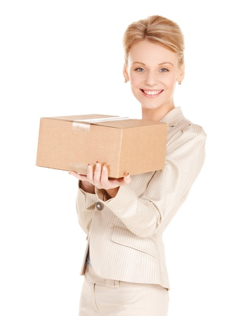 picture of happy woman with cardboard box Stock Photo - 17758709