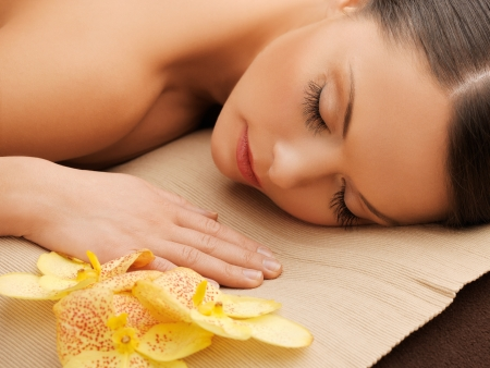 pampered: picture of beautiful woman in spa salon