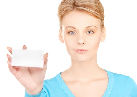 picture of attractive businesswoman with business card Stock Photo - 17758716