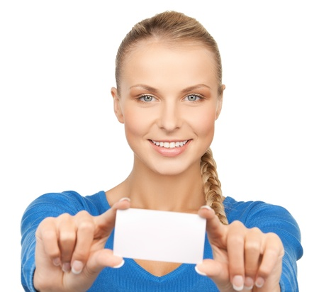 picture of attractive businesswoman with business card Stock Photo - 17758708
