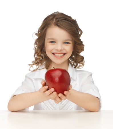 pre teens: picture of beautiful girl with red apple