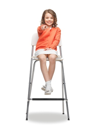 pre teens: picture of beautiful girl pointing her finger Stock Photo