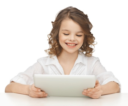 pre teens: picture of beautiful girl with tablet pc Stock Photo
