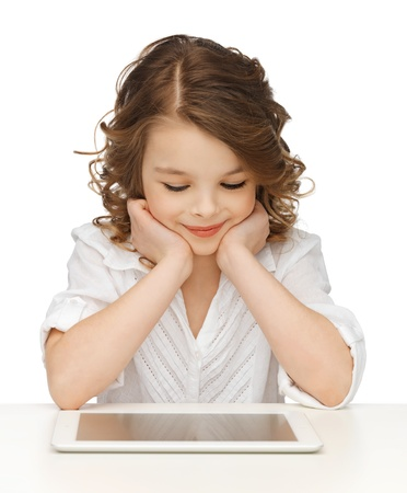 pre teen: picture of beautiful girl with tablet pc Stock Photo