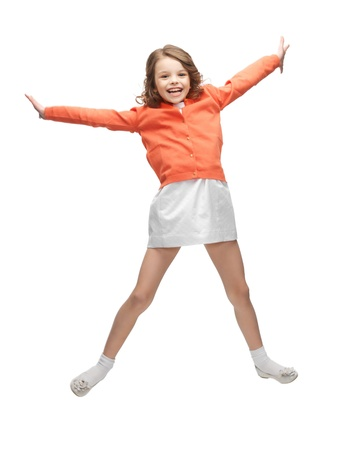 pre teens: picture of beautiful jumping girl in casual clothes