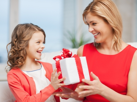 pre adult: picture of mother and daughter with gift box
