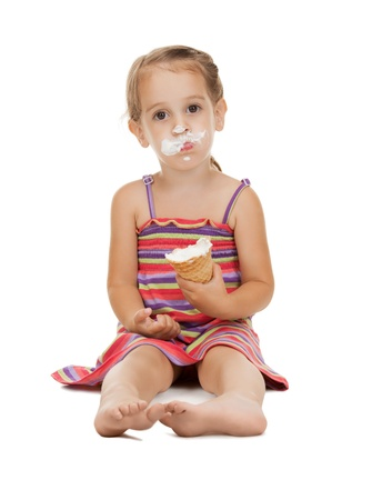 litle: bright picture of beautiful litle girl with ice cream Stock Photo