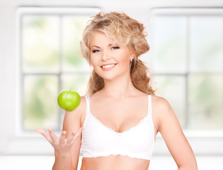 picture of young beautiful woman with green apple Stock Photo - 17791867