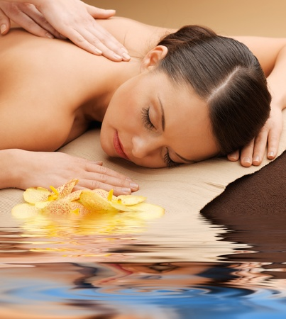 parlor: picture of calm beautiful woman in massage salon Stock Photo