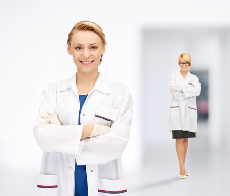 bright picture of two attractive female doctors Stock Photo - 17972662