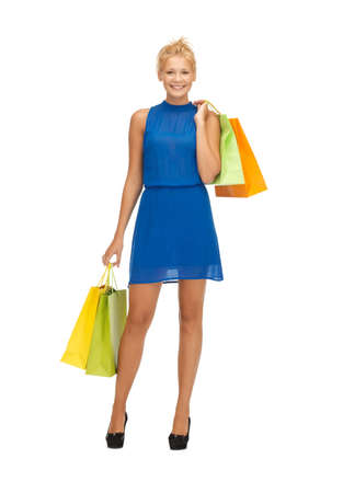 teenage girl dress: picture of happy teenage girl with shopping bags