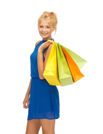 fancy bag: picture of happy teenage girl with shopping bags