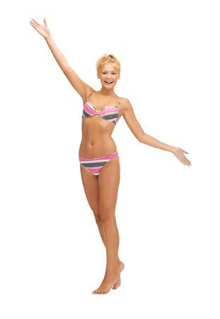 leggy girl: bright picture of beautiful barefoot woman in bikini