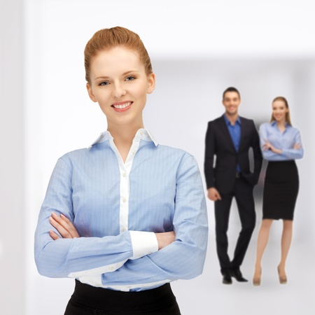succesful: bright picture of happy and smiling business team Stock Photo