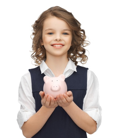pre teen girl: picture of beautiful girl with piggy bank