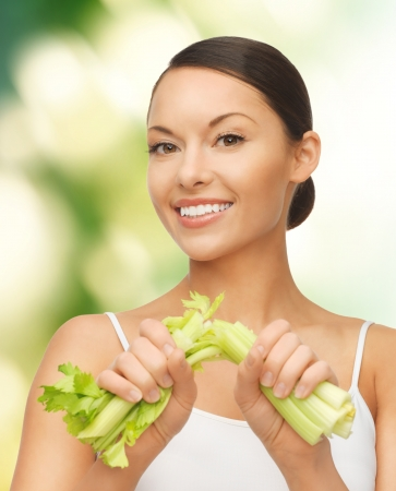 picture of beautiful woman with fresh celery Stock Photo - 18004896