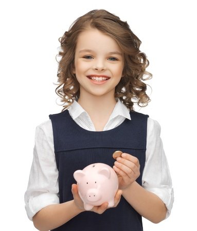 picture of beautiful girl with piggy bank Stock Photo - 18004973