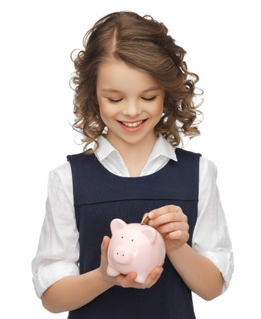 picture of beautiful girl with piggy bank Stock Photo - 18004974
