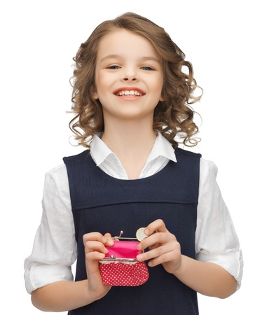 picture of beautiful girl with coin purse Stock Photo - 18004980