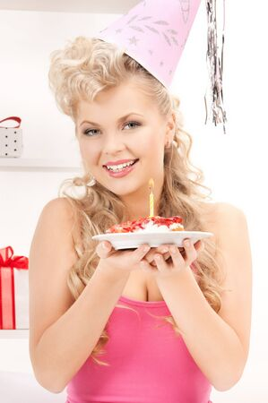 bright picture of woman with birthday cake Stock Photo - 18004886