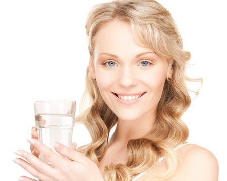 picture of beautiful woman with glass of water Stock Photo - 18004897