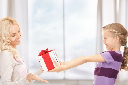 picture of mother and little girl with gifts