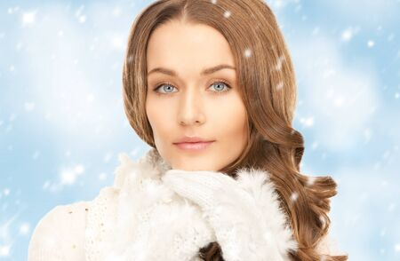 picture of beautiful woman in white gloves  Stock Photo - 18004920