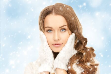 picture of beautiful woman in white gloves  Stock Photo - 18004958