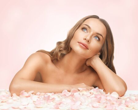 picture of beautiful woman with rose petals Stock Photo - 18004890