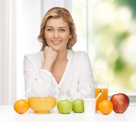 picture of woman in casual clothes with healthy breakfast Stock Photo - 18004912