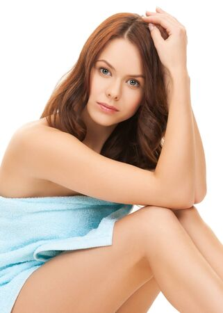 bodycare: bright picture of beautiful woman in towel Stock Photo