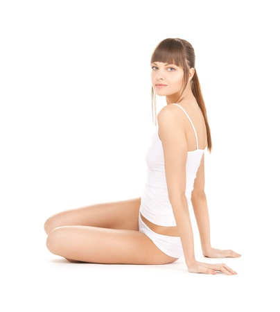 slender woman: picture of beautiful woman in cotton underwear Stock Photo