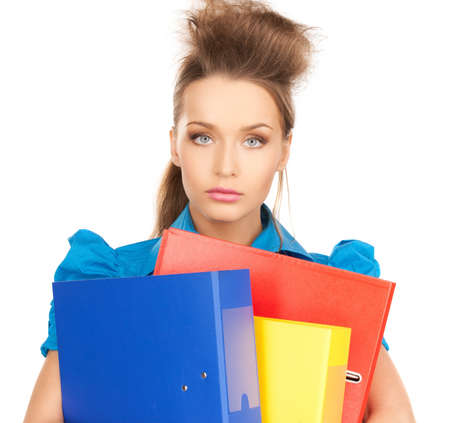 bright picture of happy woman with folders photo