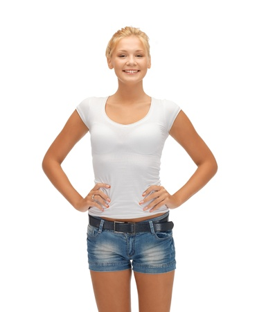 one of a kind: happy teenage girl in blank white t-shirt Stock Photo