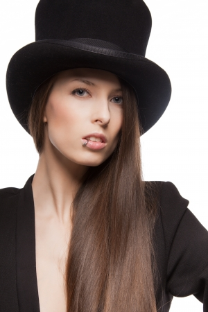 piercing: picture of woman in casual clothes with top hat