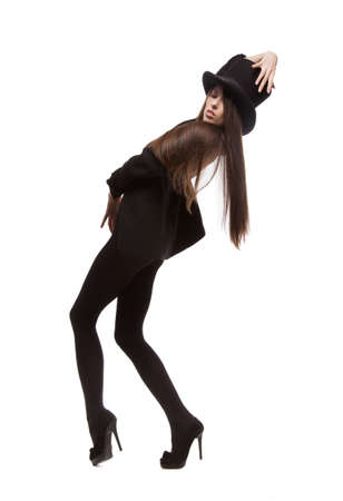 picture of woman in casual clothes with top hat photo