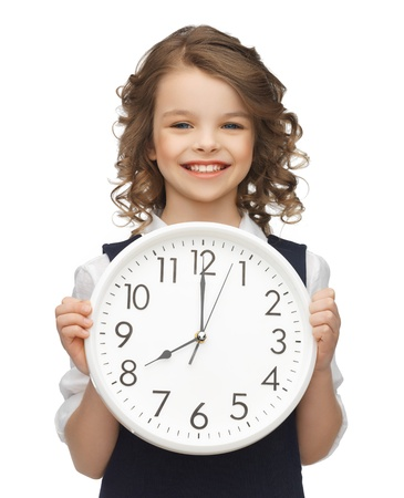 picture of beautiful girl with big clock photo