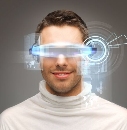 picture of handsome businessman with digital glasses photo