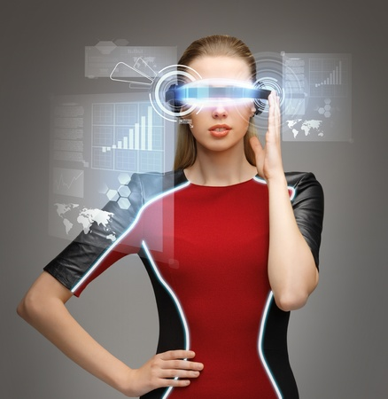 robot girl: picture of beautiful woman with futuristic glasses Stock Photo