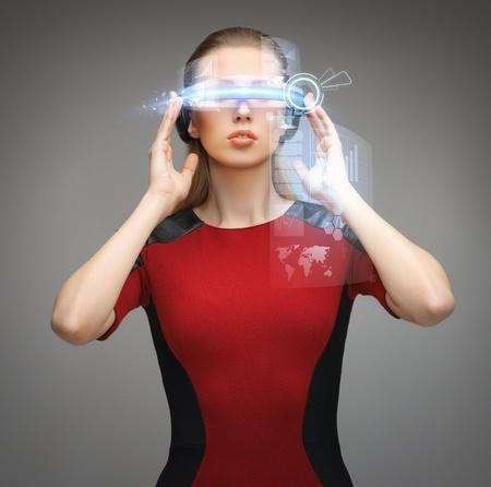 нано: картина красивая женщина с футуристическими очками