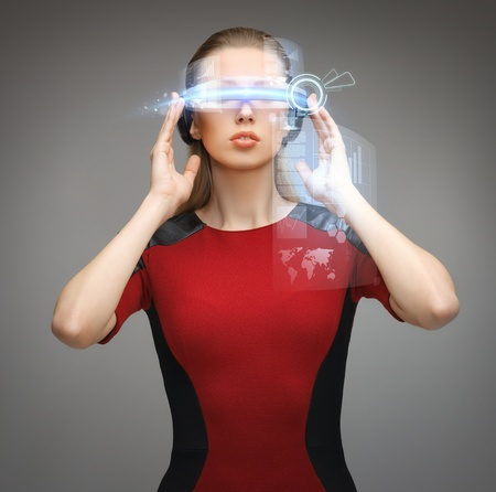 futuristic girl: picture of beautiful woman with futuristic glasses Stock Photo