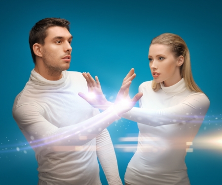 picture of man and woman working with magic Stock Photo - 18161024