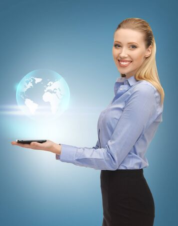 picture of woman with tablet pc and virtual earth photo