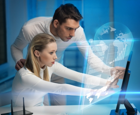 picture of man and woman in space laboratory Stock Photo