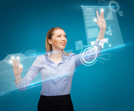 bright picture of woman working with virtual screens photo