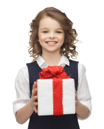 picture of beautiful girl with gift box photo